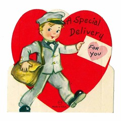 Vintage Child's Valentine Card - A Special Delivery For You, Made In USA, Circa 1950s