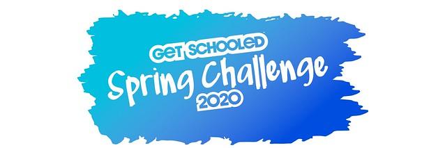 Spring 2020 Get Schooled Challenge banner image in blue