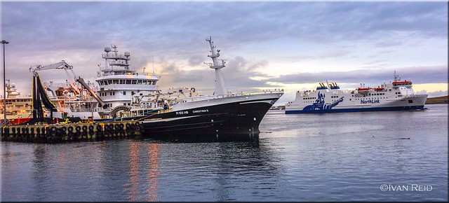 Busy afternoon in Lerwick harbour ( Christina E & Hrossey )