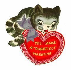 Vintage Child's Valentine Card - You Make A Purr-Fect Valentine, Circa 1950s