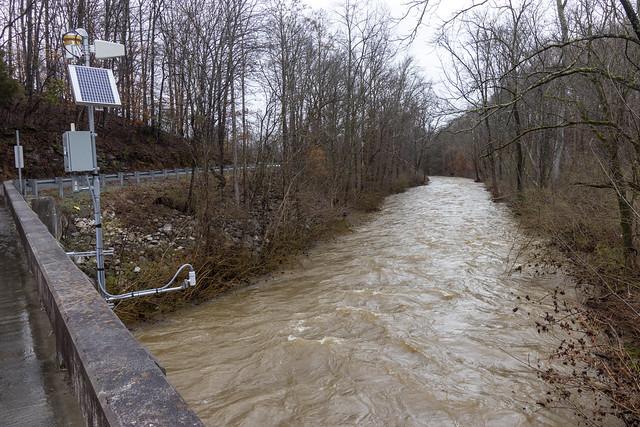 Stream gage, West Blackburn Fork, Liberty Church Rd, Jackson County