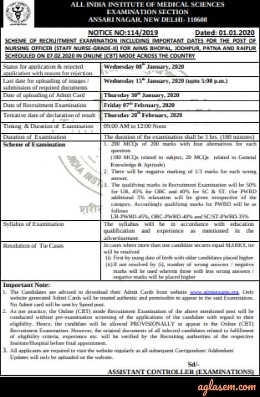 AIIMS Nursing Officer recruitment 2020 Exam scheme