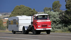 "Jungle Jack Movements (ferroequinologist) all righ posted a photo:	Set of British built units heading in to Yass on the old Hume Highway as part of ""Haulin' the Hume' get together for classic vintage and veteran tucks.(1 of 3) Cyril the 1960 FODEN from AJ Kimber & Sons.(2 of 3) Self-contained COMMER, unknown owner.(3 of 3) Johnston Bros. ATKINSON.Yass, New South Wales, Australia."