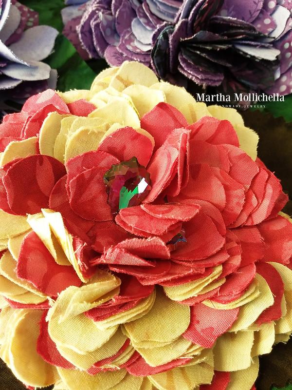 Batik jewels brooch hydrangea fiore ortensia handamade