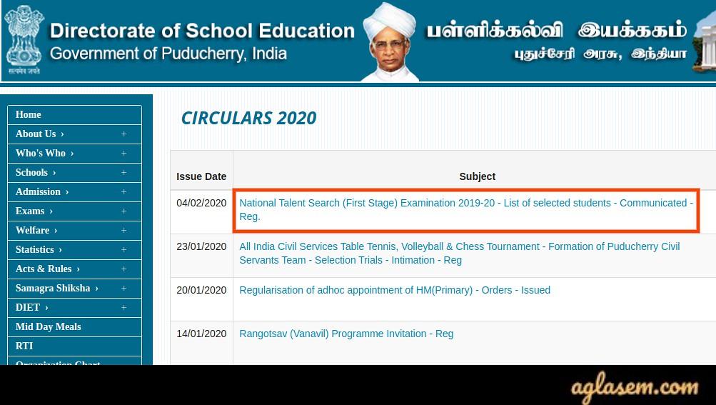 Pondicherry NTSE Result 2020 Stage 1