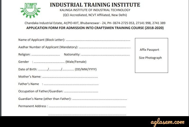 KIIT ITI offline application form