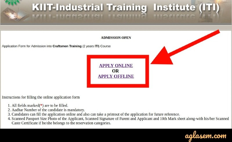 KIIT ITI application form submission