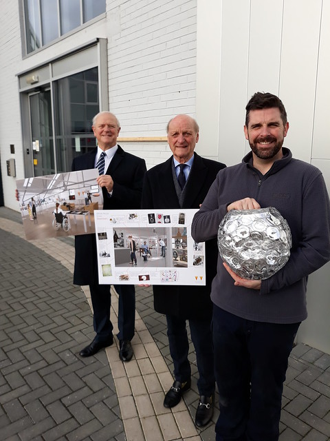 Cllr Ian Kettle, Graham Knowles chair BGF, Allister Malcolm glass artist and BGF trustee (1)