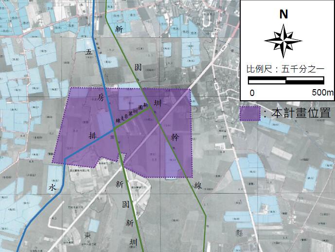 屏東縣新園產業園區計畫基地位置圖。擷取自環評書件