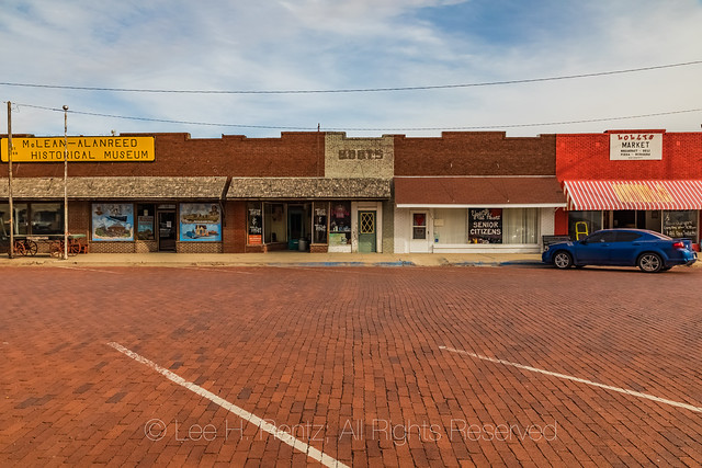 Brick Street in the Commerical District of McLean, Texas