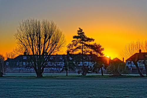 sunrise dawn daybreak trees frost grass houses nikond700 nikkoraf28105mmd