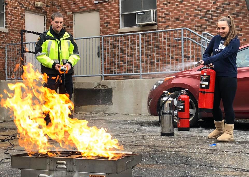 UConn Fire's Fire Marshal Unit provided fire extinguisher training for the Department of Nutritional Science's Culinary Lab at the Jones Building.