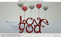 ".:Tm:.Creation ""Valentine Balloons"" Love You Word Decor V15"