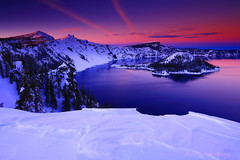 Winter Sunset Over Crater Lake and Wizzard Island From Crater La