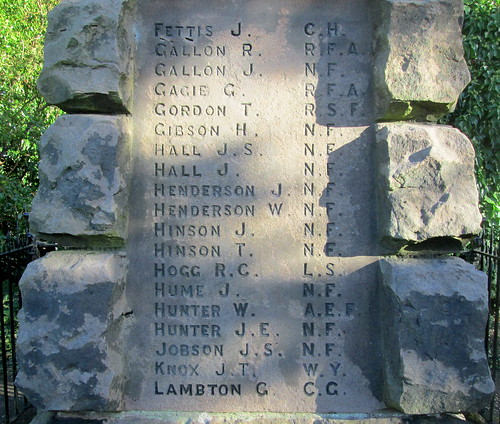 Wooler War Memorial, Great War Names