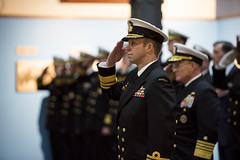 Chief of Royal Australian Navy Vice Adm. Michael Noonan salutes during a full honors ceremony at the Washington Naval Yard, Feb. 7, hosted by Chief of Naval Operations (CNO) Adm. Mike Gilday, right. (U.S. Navy/MC1 Raymond D. Diaz III)