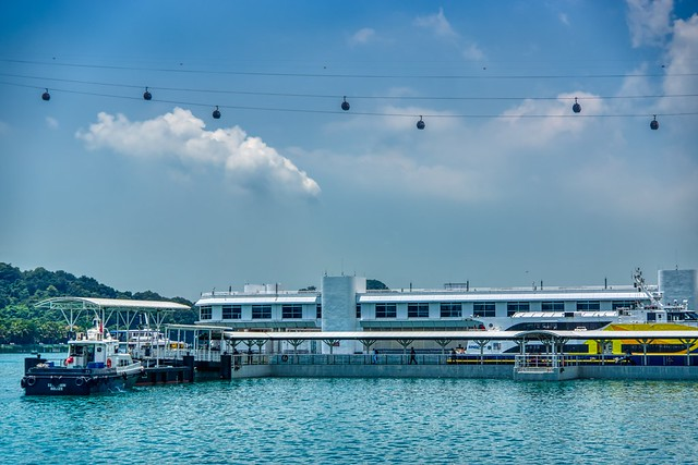Singapore harbour with cable car to Sentosa island