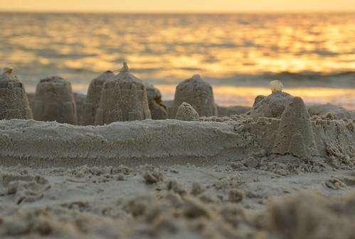 october 2018 fl florida beach naples castle sand sunset sandcastle