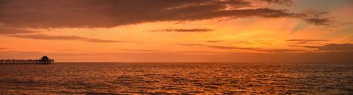 panorama october 2018 fl florida beach naples sunset pier sky clouds