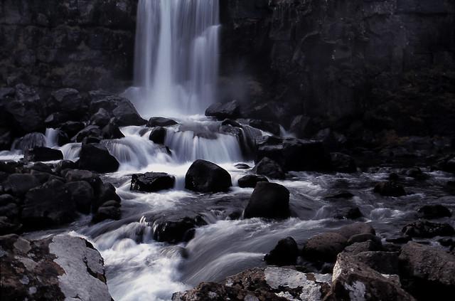 A waterfall at Thingvellir, National park, Iceland