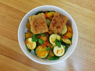 Yellow Chile Grilled Tempeh; Calabacitas
