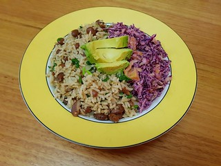 Costa Rican Refried Rice and Beans; Fruity Chile Slaw