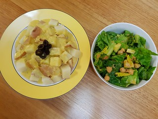 Peruvian Potatoes with Spicy 'Cheezy' Sauce; salad with Fresh Gazpacho Salsa Dressing