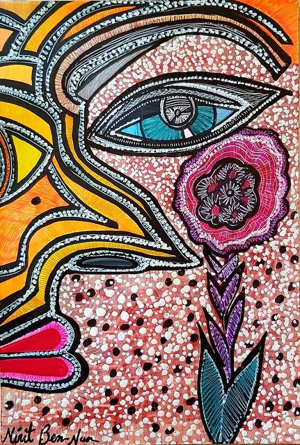 עין כחולה נגד עין הרע מירית בן נון ציירת ישראלית אמנית מודרנית עכשווית