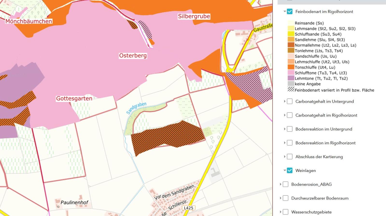 Feinbodenarten im Rigolhorizont bei Selzen (Quelle: Weinbergsbodenkarte vom GeoBox-Viewer Weinbau der Dienstleistungszentren Ländlicher Raum in Rheinland-Pfalz)