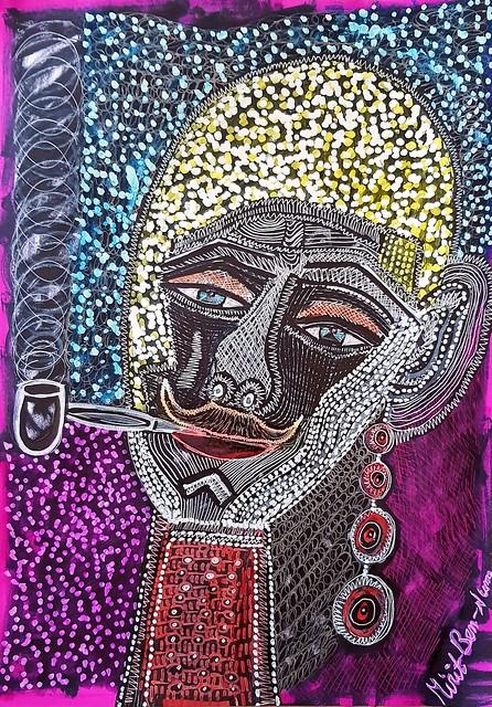 גבר עם שפם ומקטרת ציור מודרני ישראלי עכשווי מירית בן נון ציירת חדשנית