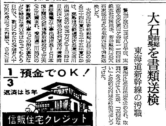 国鉄大石重成新幹線局長汚職で書類送検 (1)