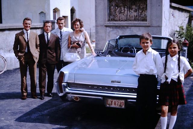 Found Photo - Family & Pontiac Bonneville Convertible - 1966