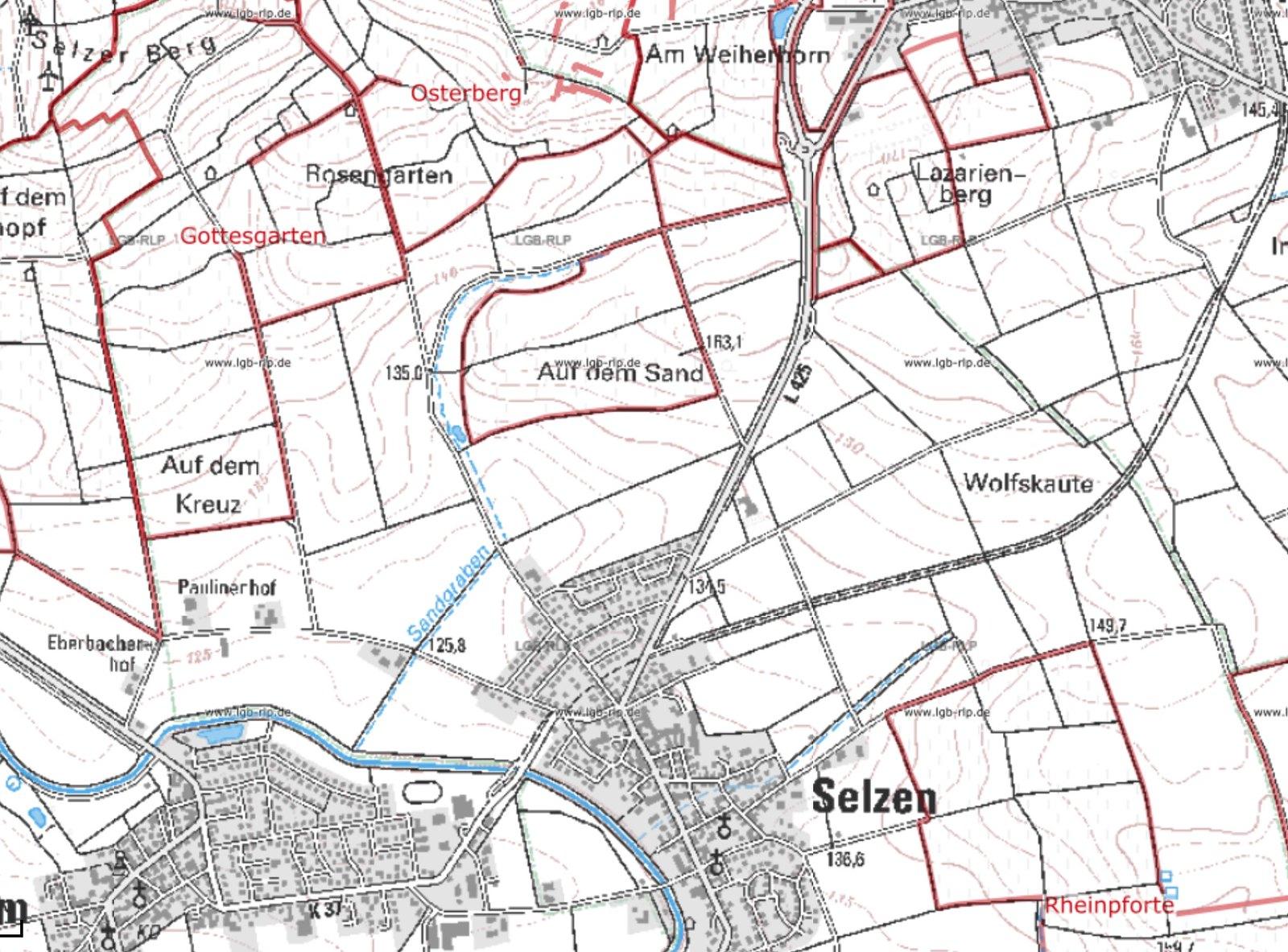 Selzer Weinlagen: Gottesgarten, Osterberg, Rheinpforte (Quelle: Kartenviewer Landesamt für Geologie und Bergbau Rheinland-Pfalz)