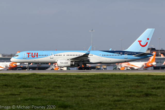 G-BYAY - 1999 build Boeing B757-204, rolling for departure on Runway 23R at Manchester