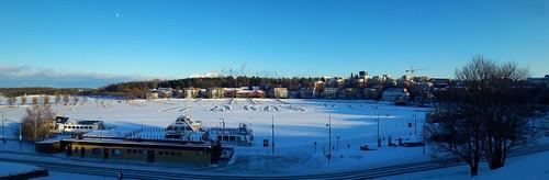 sky snow winter landscape panorama harbour finland