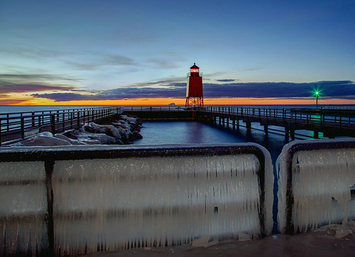 seascape sea sunset winter ice pier charlevoixmichigan lakemichigan