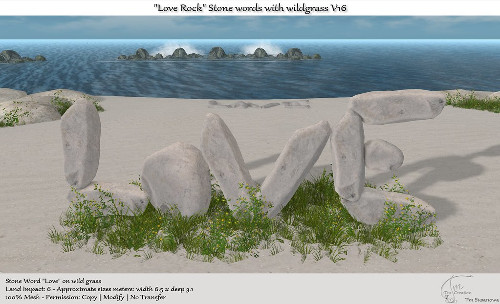".:Tm:.Creation ""Love Rock"" Stone Words on wildgrass V16"