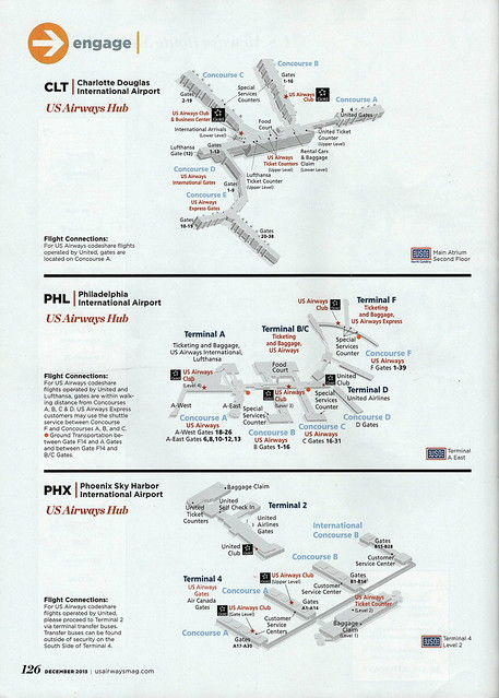 US Airways CLT, PHL and PHX diagrams, 2013