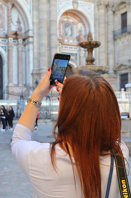 Everyone is taking pictures of the cathedral in Malaga