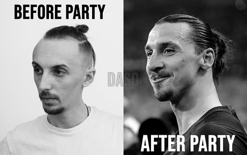 DASQ Funny Meme Zlatan Ibrahimovic (Musical Artist) Meme - Before party, after party - techno
