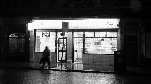 Chip Shop on a Wet Night