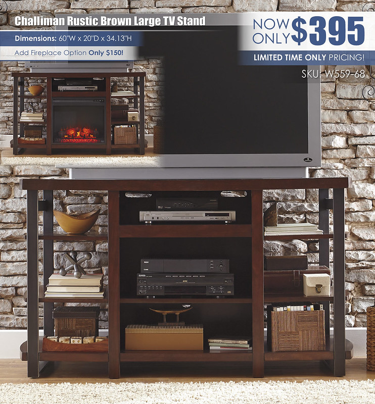 Challiman Rustic Brown Large TV Stand_W559-68