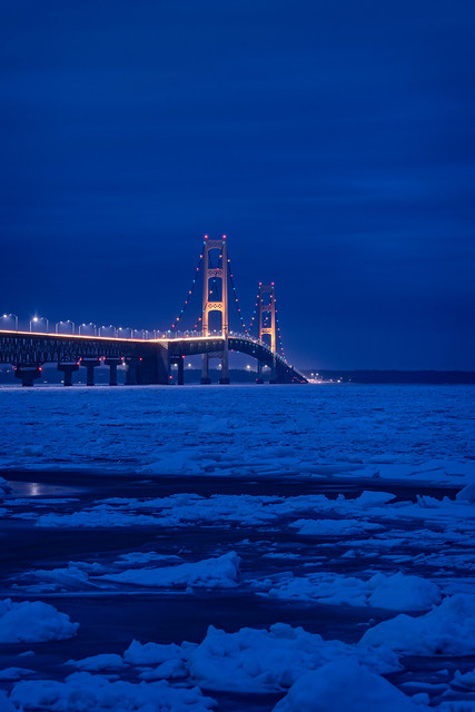Winter Twilight of Mackinac Bridge