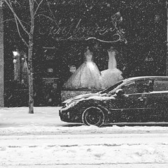 Wedding dresses in the snow