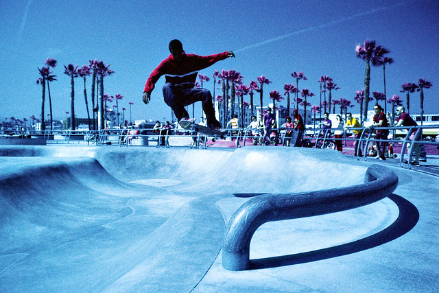 catching air (color infrared). venice beach, ca. 2013.
