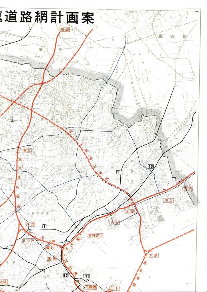 1970年の横浜周辺高速道路地図 (1)
