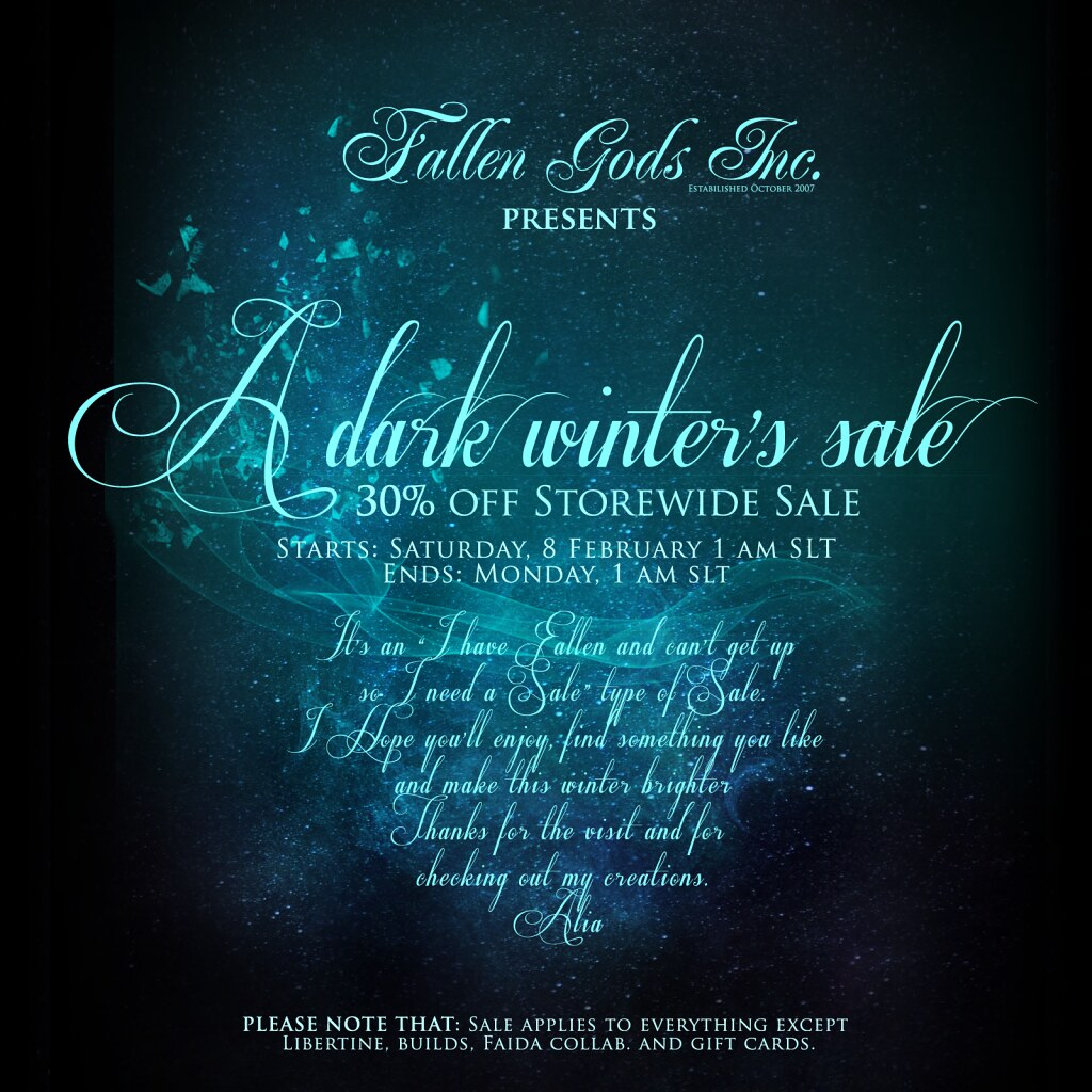 A dark winter's sale, at Falllen Gods Inc.