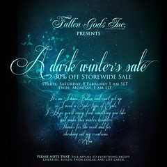 A dark winter's sale, at Falllen Gods Inc.