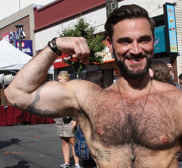 FRIGGIN' STEAMING HOT HAIRY MUSCLE MAN ! ~ CASTRO STREET FAIR 2019 ! ( safe photo ) (50 faves)