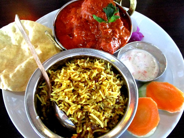 The Cafe Ind butter chicken curry with biryani rice